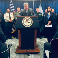 U.S. Attorney General William P. Barr launches Project Guardian in Memphis Wednesday.