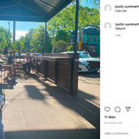 An Instagram photo shows a spaced-out, Cinco-de-Mayo patio at Cafe Ole Wednesday.