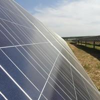 A solar panel array at Agricenter International