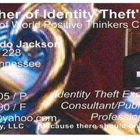 """James Jackson's business card, discovered at his mother's home, proclaims him to be the """"Father of Identity Theft."""""""