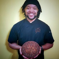 Chef Justin Hughes with his  chocolate pecan pie