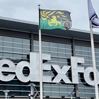 The flag of the fictional country Zamunda flying at the FedExForum