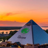 Sunset over Bass Pro Shops at The Pryamid.