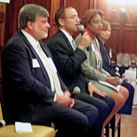 Candidates for the Super Districrt 9, Position 2 City Council seat — l to r, Paul Shaffer, Kenneth Whalum Jr., Stephanie Gatewood, and Lynn Moss —  had a spirited discussion Tuesday at a forum sponsored by the Rotary Club of Memphis.