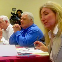 The contending parties at a recent weekend retreat: L to r: County CAO Harvey Kennedy; Mayor Mark Luttrell; Commission Chairman Terry Roland; and Commissioner Heidi Shafer