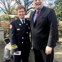 Gina Sweat and Mayor Jim Strickland