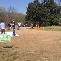Hundreds took to the Greensward Saturday to protest parking.