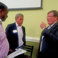 Rep. Craig Fitzhugh (D-Ripley), at Wednesday's TNA forum, talks things over with District 96 House candidate Dwayne Thompson (center) and Thompson campaign adviser Bret Thompson.