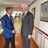 GOP gubernatorial candidate Randy Boyd with Shelby County Mayor Mark Luttrell in the Mayor's office this week