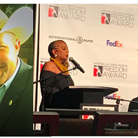 Rep. Holt gave away three AR-15s at his Turkey Shoot this year. Bernice King, far right, got a Freedom Award from the National Civil Rights Museum, despite years of anti-gay statements.