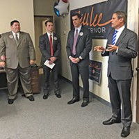 """GOP gubernatorial candidate Bill Lee laid out his """"Commitment to Memphis and Shelby County """" at the opening of his local headquarters on Poplar Avenue. on Wednesday. Among those present were (l to r) Geoff Diaz. Will Patterson, and Lang Wiseman. Wiseman is Lee's local campaign chaiurnan."""