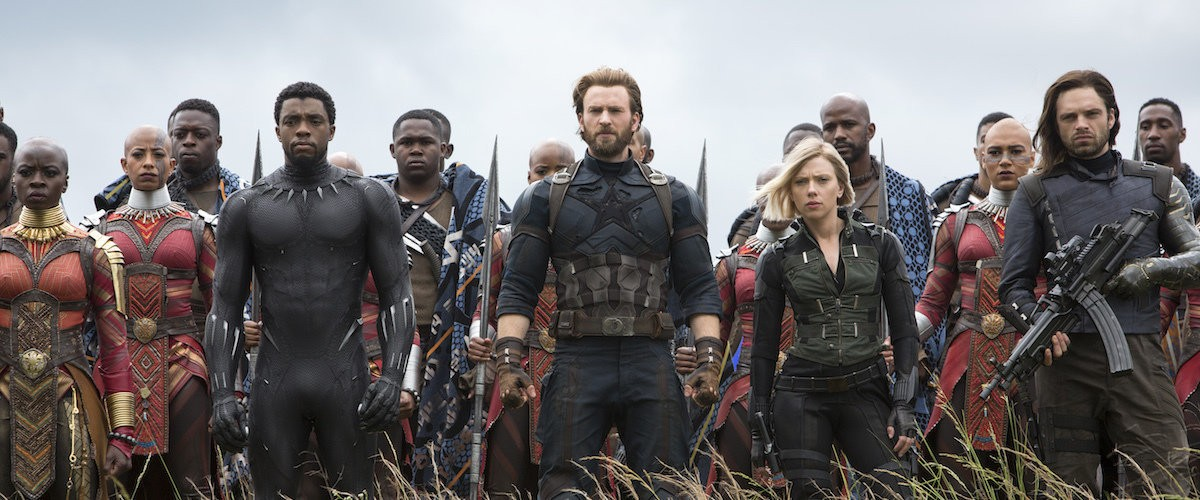 Black Panther (Chadwick Boseman), newly minted beardo Captain America (Chris Evans), Black Widow (Scarlett Johansson) and supersoldier in perpetual distress Bucky Barns (Sebastian Sam) defend Wakanda in Avengers: Infinity Wars.