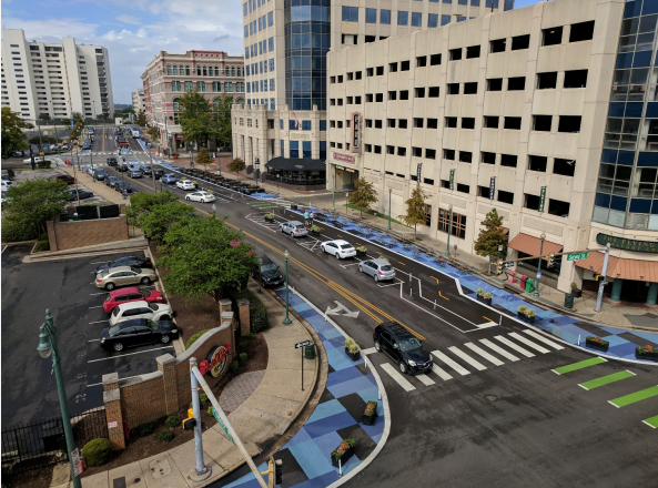 Birdseye view of the Great Streets Pilot project on Peabody - BIKEPED MEMPHIS