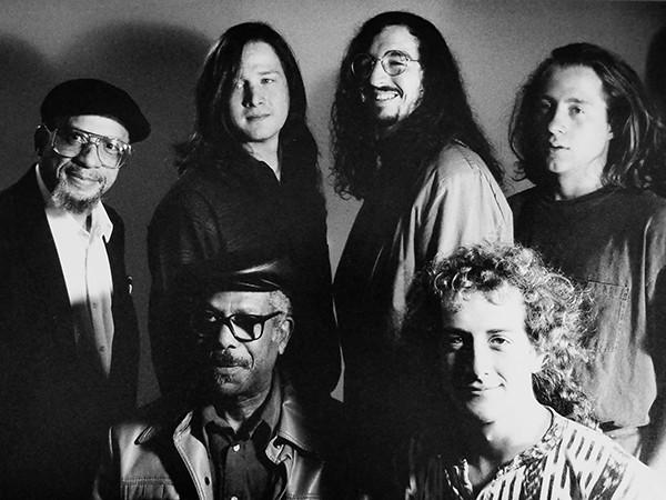 Calvin Newborn, Chuck Sullivan, Richard Cushing, Robert Barnett (back). Dr. Herman Green & Willie Waldman (front) in FreeWorld. ca. 1990. - STEVE ROBERTS