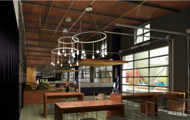 A rendering of the inside of Grind City Brewing's taproom. - CENTER CITY DEVELOPMENT CORP.