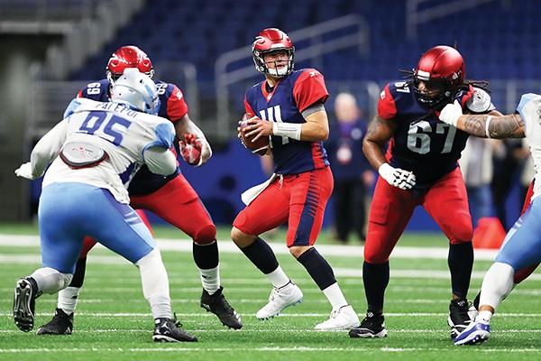 Express quarterback Christian Hackenberg prepares to pass.