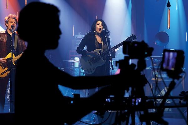 Cameraman Jake Hopkins films Liz Brasher and Steve Selvidge for DittyTV