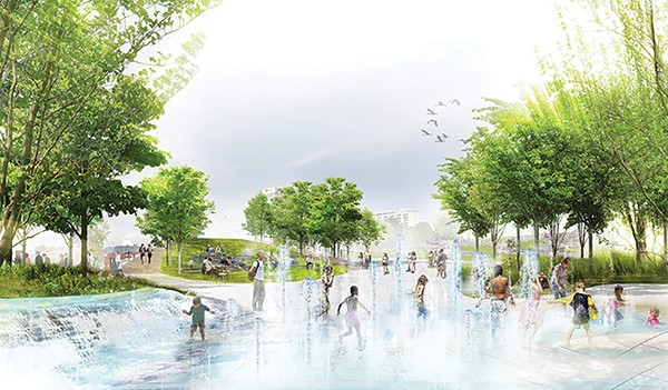 Studio Gang visual of the proposed water feature in Tom Lee Park.