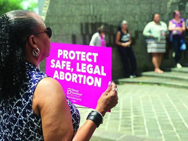 Abortion-ban protestors at Memphis - City Hall last week.