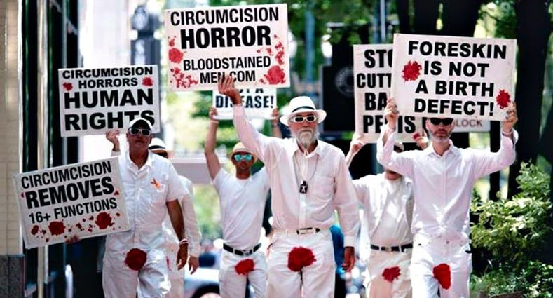 The Bloodstained Men brought its message against circumcision to Memphis Tuesday. - THE BLOODSTAINED MEN