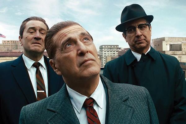 (l-r) Robert De Niro, Al Pacino, and Ray Romano star in Martin Scorsese's mob movie opus.