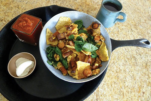 Breakfast nachos with egg, carrots, and spinach - ARI LEVAUX
