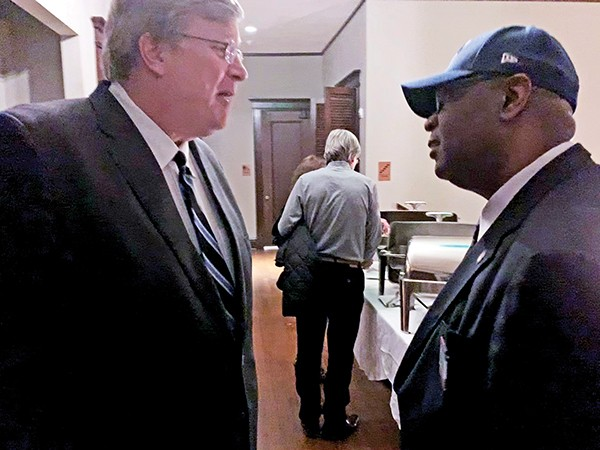 Mayor Jim Strickland, here - with County Commissioner and Clerk candidate Reginald Milton, is beginning to enjoy the role of political broker and is a Bloomberg mainstay. - JACKSON BAKER