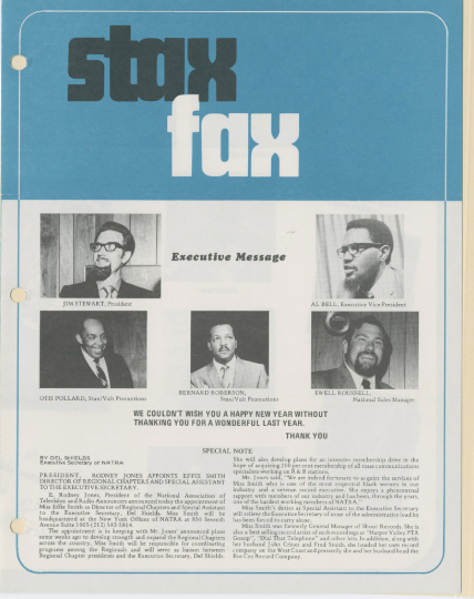 Stax Fax newsletter - COURTESY STAX MUSEUM OF AMERICAN SOUL MUSIC