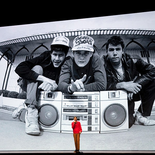 Mike D and Ad-Rock tell tales on the lecture circuit in Beastie Boys Story.