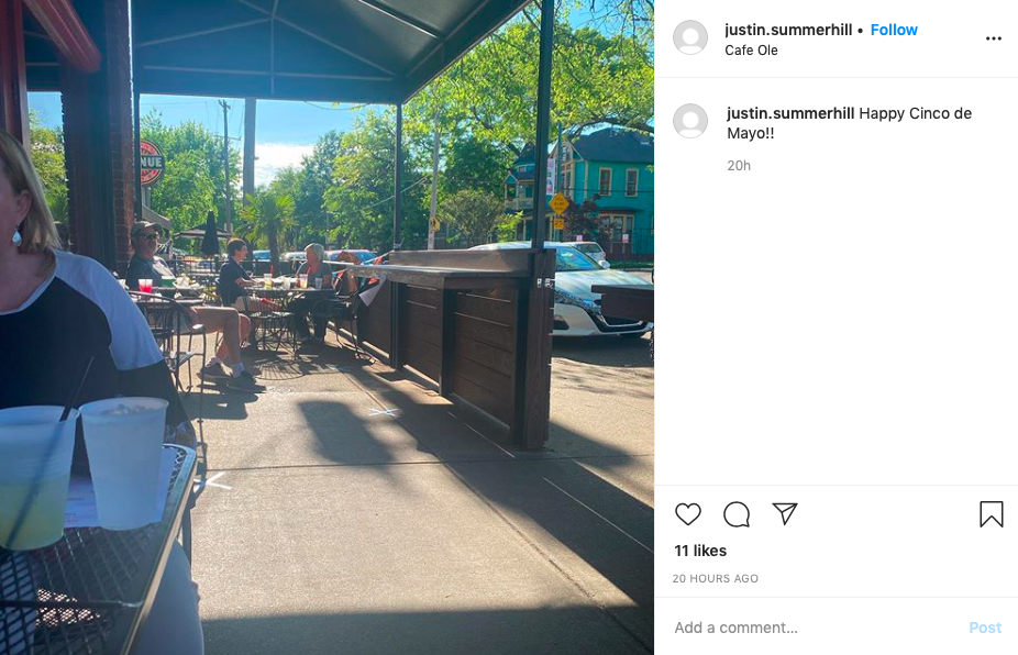 An Instagram photo shows a spaced-out, Cinco-de-Mayo patio at Cafe Ole Wednesday. - INSTAGRAM/JUSTIN.SUMMERHILL