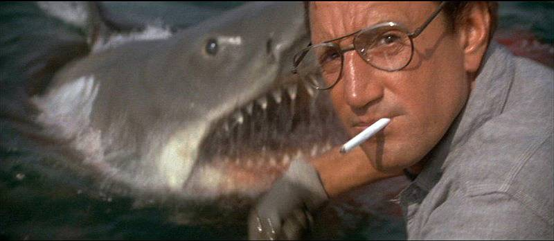 Bruce the shark and Roy Schider hit the beach in Steven Spielberg's Jaws.