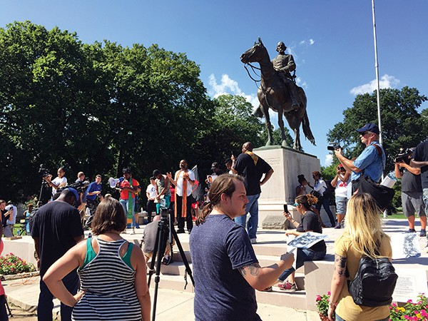 Crowds gathered in Health Sciences Park in Memphis around the statue of Nathan Bedford Forrest, prior to its removal.