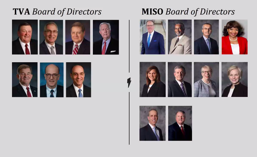 Schledwitz compared diversity between the TVA board (left) and the MISO board (right). - THERE'S A BETTER WAY THAN TVA