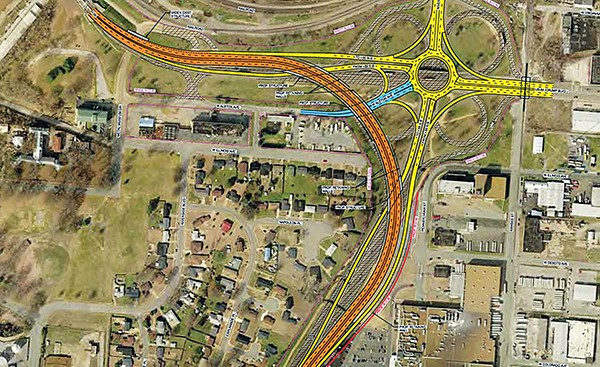This map shows the roundabout (in yellow) and the sweeping curve (in orange) of TDOT's proposed interchange at E.H. Crump Boulevard and I-55 - COURTESY TDOT