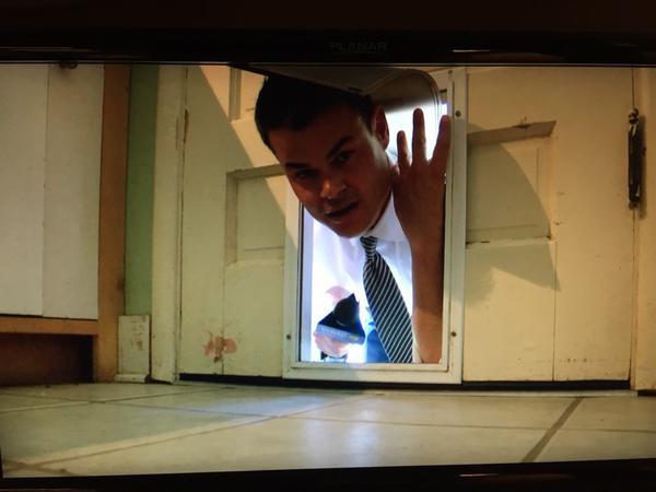 Jason Miles in a doggie door