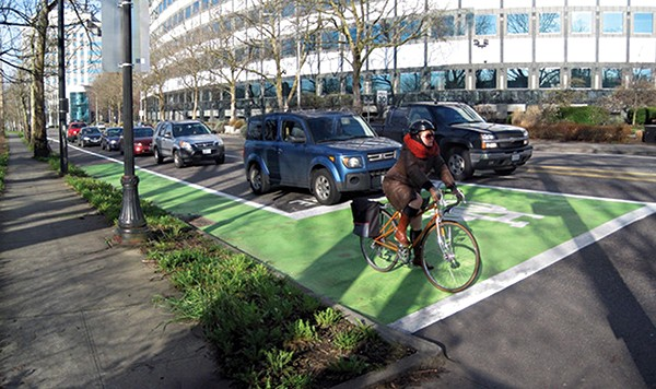 """A """"bike box"""" like this one in - Portland, Oregon, will be  painted at the intersection of Cleveland and Peabody. - NATIONAL ASSOCIATION OF CITY TRANSPORTATION OFFICIALS"""
