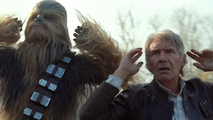 Peter Mayhew as Chewbacca and Harrison Ford as Han Solo