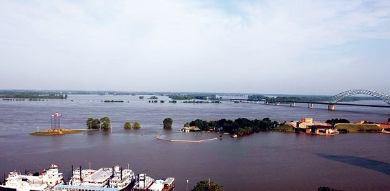 Mud Island is submerged under the Mississippi River during the flood of 2011. - WARD ARCHER