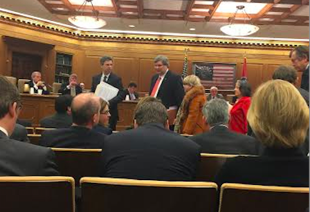 Mayors Berke and Strickland after testifying in Nashville, Wednesday. - JACKSON BAKER