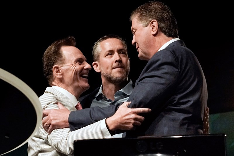 Steve Gaines (far right) now leads the Southern Baptist Convention and has led Memphis-area Bellevue Baptist Church for 11 years. - SOUTHERN BAPTIST CONVENTION