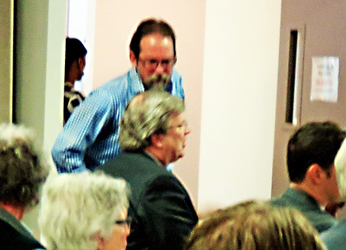 The Sierra Club 's Banbury and Mayor Strickland (seated) at recent Water Board hearing - JB