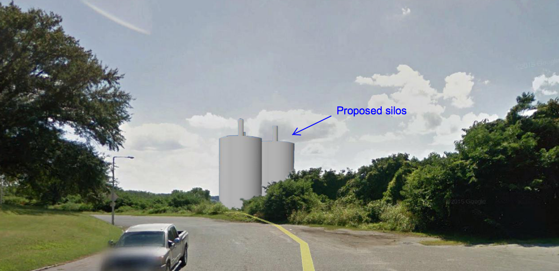 click to enlarge this rendering of the proposed silos shows the altered view from metal museum drive facing - Silos