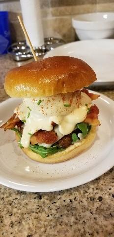 The prize-winning Eggs Benedict Burger