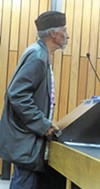 """Dr Yahweh, a.k.a. Lance """"Sweet Willie Wine,"""" at the dock during Monday's Commission meeting"""