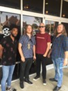 Memphis Film Prize first-place winner Kevin Brooks, left,  with Ivon and Eyan Wuchina and Memphis Flyer's Chris McCoy at one of the screenings at Malco Studio on the Square