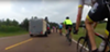 An SUV with Mississippi tags swerves into a group of cyclists.