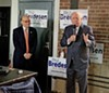 Speaking to supporters at Railgarden, former Governor Phil Bredesen appeals for a good turnout at the polls. 9th District Congressman Steve Cohen (l) was one of several Democratic officials attending the Thursday lunch, which was hosted by Shelby County Mayor Lee Harris.