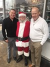 Larry Tyger, Santa Claus and Chuck Guthrie at Market on Madison open house.