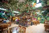 Mi Tierra is covered from top to bottom with colorful decorations and fake parrots.
