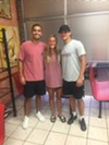 Jeremy Leake, Savannah Jordan, and Landon Hammonds at Gibson's Donuts